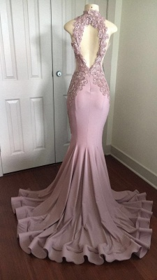 Modest High Neck Lace Appliques Prom Dresses Cheap | Front Split Prom Dresses Cheap_4