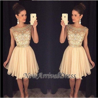 Bateau-Neck Capped-Sleeves Short Gold Beaded Luxury Homecoming Dresses AP0_1