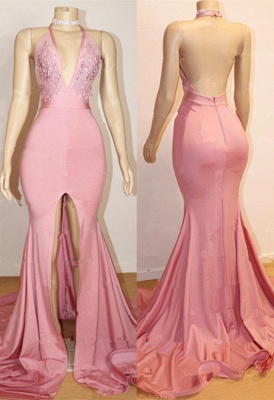 Open Back Pink Junior Long Prom Dresses Cheap | Halter Lace Evening Gown With Slit BA9087_1