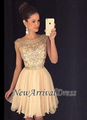 Bateau-Neck Capped-Sleeves Short Gold Beaded Luxury Homecoming Dresses AP0_3