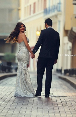 Gorgeous Sweetheart Wedding Dress Cheap Hi-Lo Sweep Train Prom Gowns with Beadings_5
