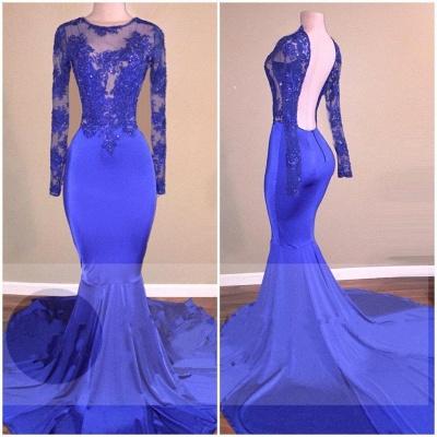 Long Sleeve Royal Blue Open Back Beaded Mermaid Prom Dresses Cheap_3