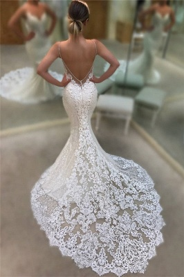 Backless Mermaid Lace Wedding Dresses Cheap 2019 | Spaghetti Straps Sequins Sexy Bridal Gowns_1