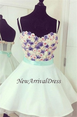 Spaghetti Straps Colorful Flowers Lovely Mini Sweetheart Sexy Short Homecoming Dresses_1