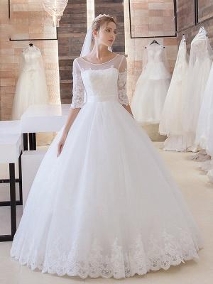 New Arrival Lace Princess Half Sleeve Stunning New Arrival Lace-Up Floor Length Elegant Wedding Dresses_2