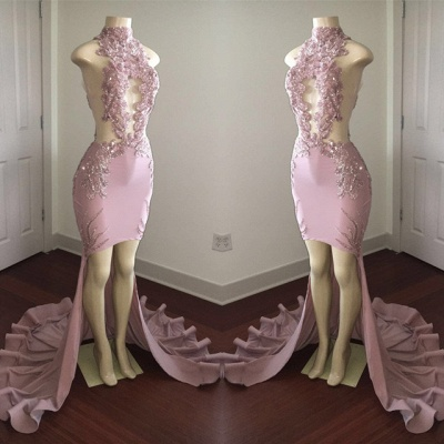 Modest High Neck Lace Appliques Prom Dresses Cheap | Front Split Prom Dresses Cheap_5