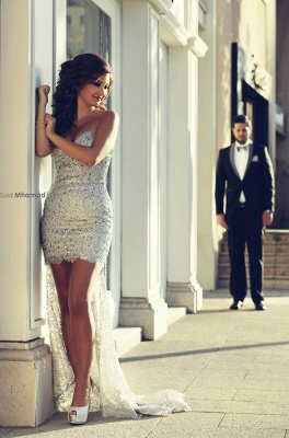 Gorgeous Sweetheart Wedding Dress Cheap Hi-Lo Sweep Train Prom Gowns with Beadings_3