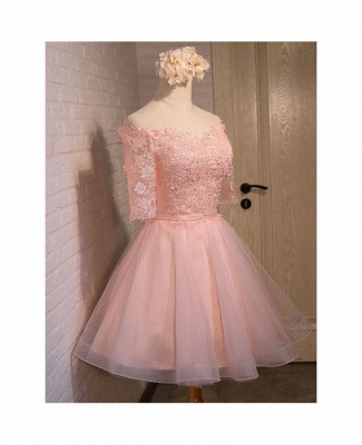 New Lace Appliques Off The Shoulder Half Sleeve Sexy Short Homecoming Dresses_3