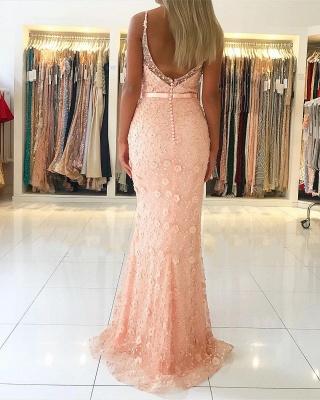 Elegant Pink Sheath Long Prom Dress | Spaghetti Straps Flowers Sleeveless Evening Dress_3