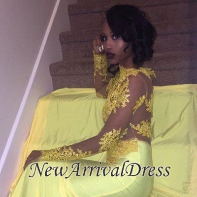 0f42c57bf8f High-Neck Yellow Long-Sleeve Mermaid Appliques Beautiful Lace Prom Dress