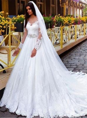 New Arrival Lace Princess Crystal Long Sleeve Elegant Wedding Dresses_2