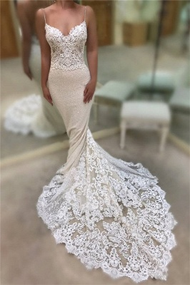 Backless Mermaid Lace Wedding Dresses Cheap 2019 | Spaghetti Straps Sequins Sexy Bridal Gowns_3