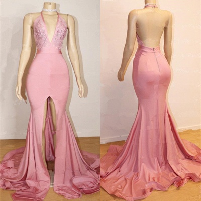 Open Back Pink Junior Long Prom Dresses Cheap | Halter Lace Evening Gown With Slit BA9087_3