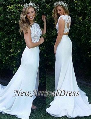 Zipper Sweep Train Mermaid Beautiful Lace Modest Two Piece Wedding Dresses_1