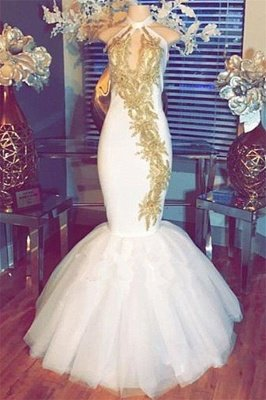 Halter Gold Beads Mermaid Prom Dresses | 2018 Sleeveless White Evening Gown With Appliques