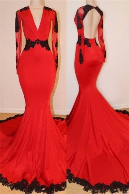 Long Sleeve Red Long Prom Dresses Cheap with Black Lace | V-neck Open Back Mermaid Formal Dresses_1