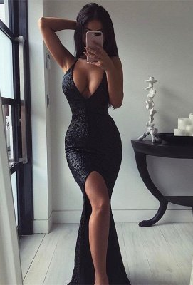 Sexy Black V-Neck Long Formal Dresses | Sequins Mermaid Split Prom Dress Long