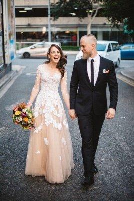 Long Sleeve White Lace Champagne Evening Dress Floor Length Destination Wedding Dress BA6642_4