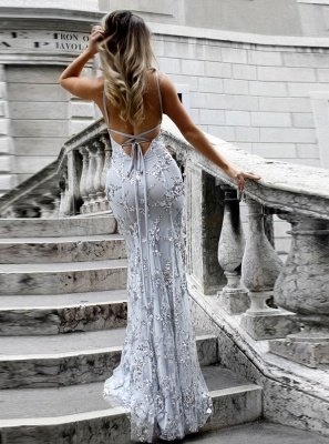 SAGE | Mermaid V-neck Spaghetti Floor-length Crystal Beads Prom Dresses_2