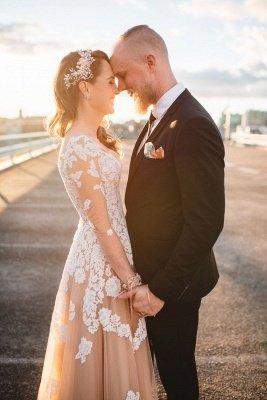 Long Sleeve White Lace Champagne Evening Dress Floor Length Destination Wedding Dress BA6642_3