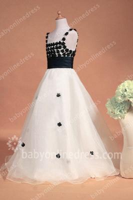 Black And White Flower Girls Dresses Straps Sleeveless Flower A Line Floor Length Zipper Girls Pageant Gowns_7