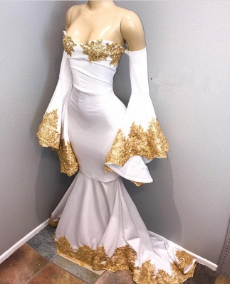 Off The Shoulder Long Sleeve Mermaid Gold Lace Prom Dresses Cheap BA8276_1