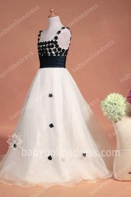 Black And White Flower Girls Dresses Straps Sleeveless Flower A Line Floor Length Zipper Girls Pageant Gowns_6