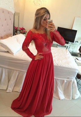 Long Sleeves Prom Dresses Chiffon Pearls Beaded Red Fuchsia Sheer A-line Evening Gowns_1