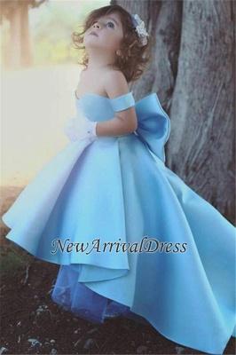 Off-the-Sholder Bow Simple Lovely Blue Flower-Girls Dresses_3