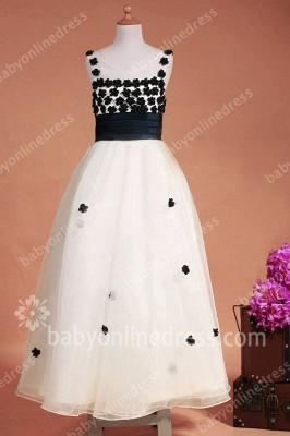 Black And White Flower Girls Dresses Straps Sleeveless Flower A Line Floor Length Zipper Girls Pageant Gowns_3