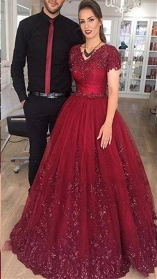 Delicate Burgundy Short Sleeve Lace Appliques A-line Evening Gown_1
