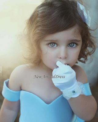 Off-the-Sholder Bow Simple Lovely Blue Flower-Girls Dresses_1
