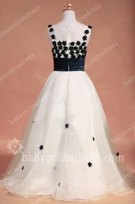 Black And White Flower Girls Dresses Straps Sleeveless Flower A Line Floor Length Zipper Girls Pageant Gowns_8