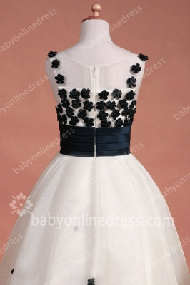Black And White Flower Girls Dresses Straps Sleeveless Flower A Line Floor Length Zipper Girls Pageant Gowns_9