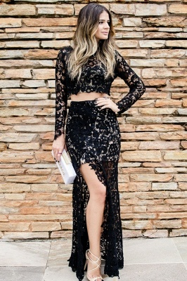 Two-Pieces Long-Sleeves Slit Lace Evening Dress_1