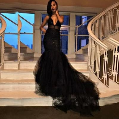Long V-Neck Mermaid Black Prom Dresses Tulle Sequins Formal Gowns SK0126_3