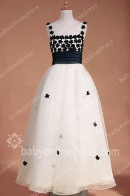 Black And White Flower Girls Dresses Straps Sleeveless Flower A Line Floor Length Zipper Girls Pageant Gowns_4