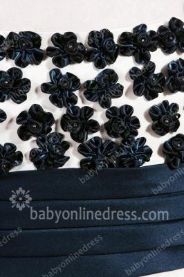 Black And White Flower Girls Dresses Straps Sleeveless Flower A Line Floor Length Zipper Girls Pageant Gowns_5