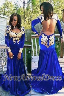 18f4d422b74 Long-Sleeve Zipper Gorgeous Appliques Mermaid Royal-Blue Prom Dress ...