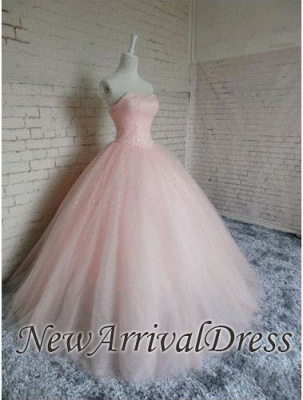 Prom Sleeveless Dresses Pink Ball Chic Tulle Sweetheart Gown Princess Dresses_4