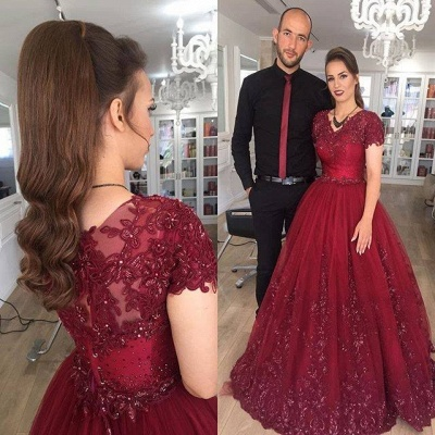 Delicate Burgundy Short Sleeve Lace Appliques A-line Evening Gown_3