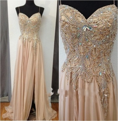 Champagne Chiffon Crystals Long Prom Dresses Cheap Spaghettis Straps Sweetheart Side Slit Evening Gowns_2