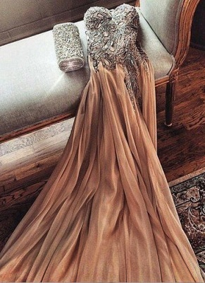Champagne Chiffon Crystals Long Prom Dresses Cheap Spaghettis Straps Sweetheart Side Slit Evening Gowns_1