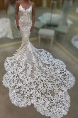Robes de mariée sexy en dentelle de sirène avec dos ouvert | Robes de mariée avec bretelles spaghetti 2020 avec train de la chapelle_3