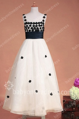 Black And White Flower Girls Dresses Straps Sleeveless Flower A Line Floor Length Zipper Girls Pageant Gowns