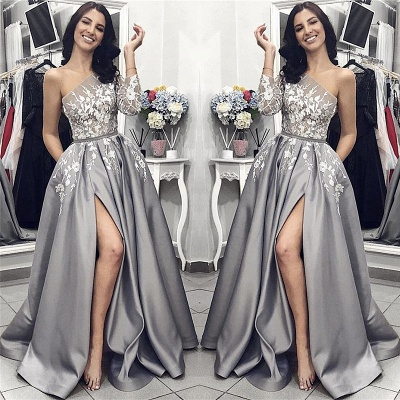 One Sleeve Silver Grey Prom Dresses Cheap Online | Side Slit Lace Appliques Sexy Formal Evening Dress_5
