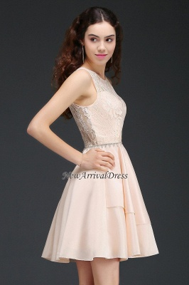 Tiers Elegant Lace Beading A-line Sleeveless Homecoming Dresses_5