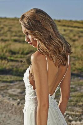 Simple Design Sexy Spaghetti Straps Elegant Lace Appliques Long Chiffon Beach Wedding Dress Cheap_4