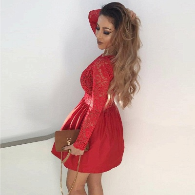 Sexy Red Lace V-neck Long Sleeve Homecoming Dress | Short Party Gown_3