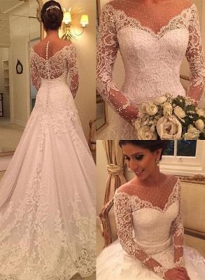 Voir Sexy à travers des robes de mariée en dentelle à manches longues pas cher | Robes de mariée élégantes appliques une ligne 2020_1